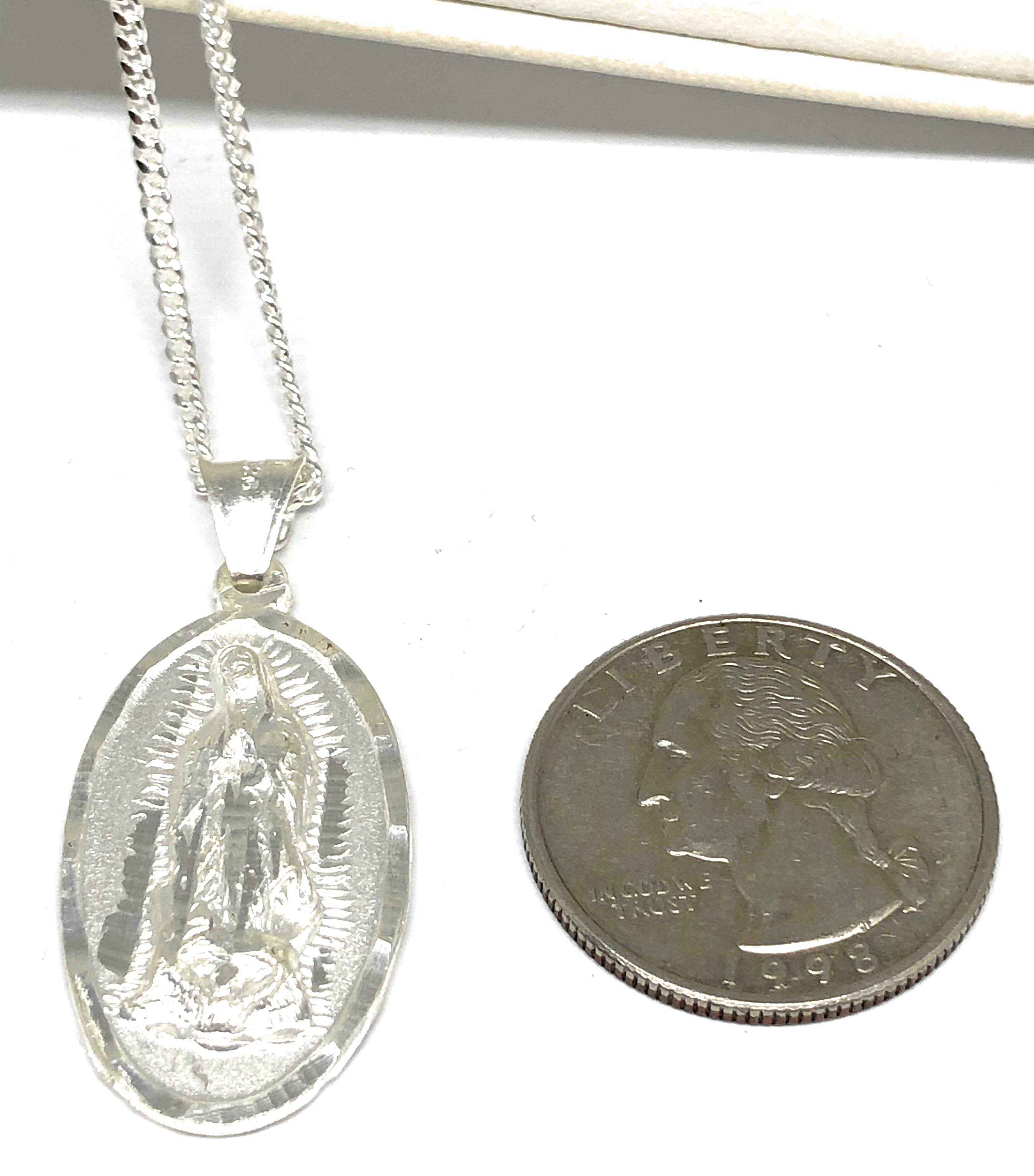.925 Silver Virrgin Marry Pendant Necklace with Chain Options