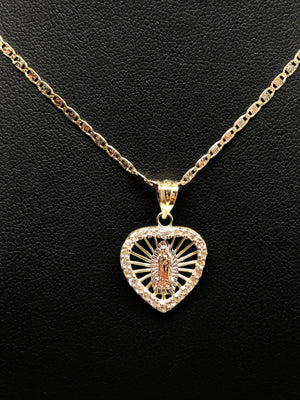 10k Solid Gold Tri-Color Virrgin Mary Heart Pendant Necklace W/ Cubic Zirconia Virrgen Gaudalupe Valentina Chain