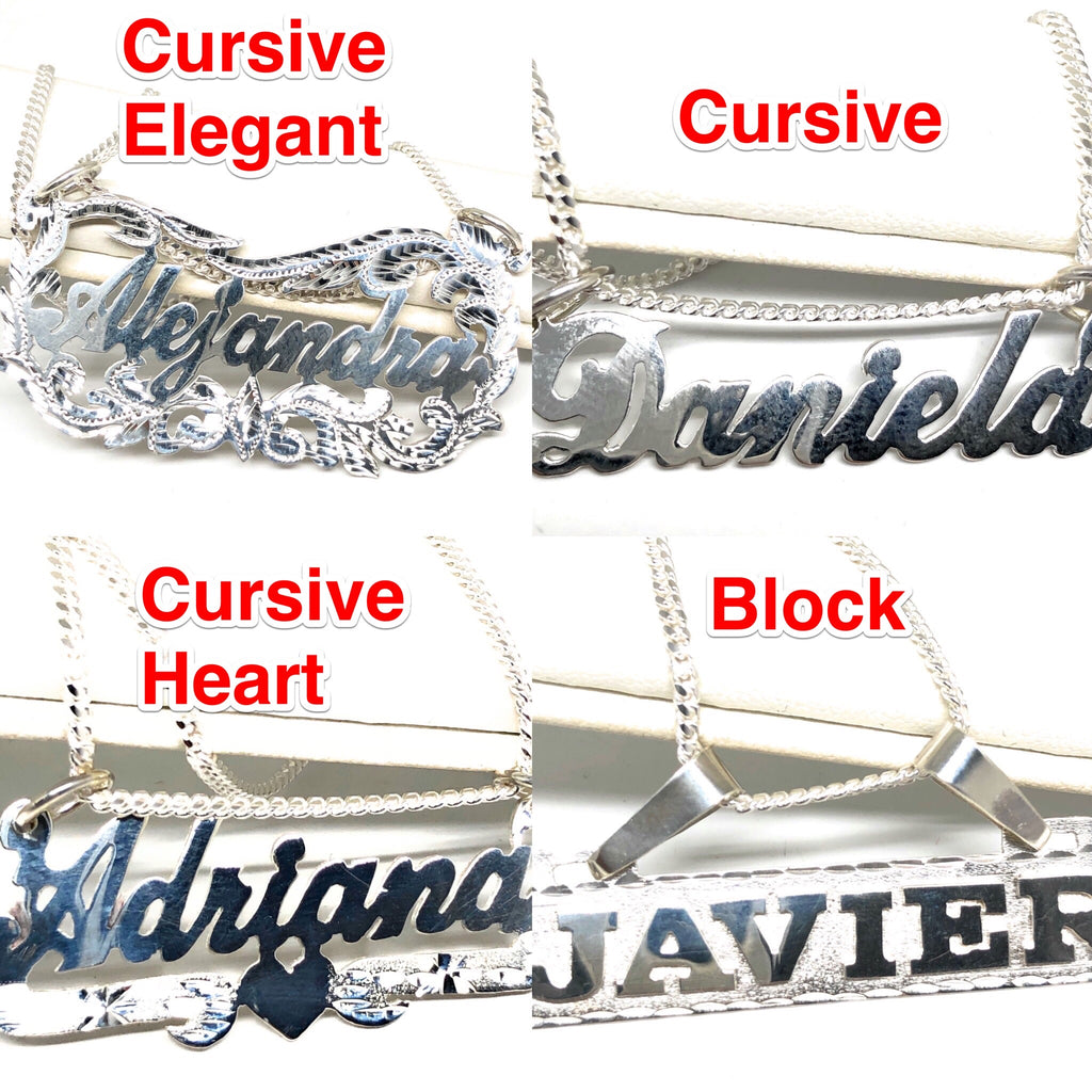 .925 Silver Custom Name Pendant Necklace with Chain Options