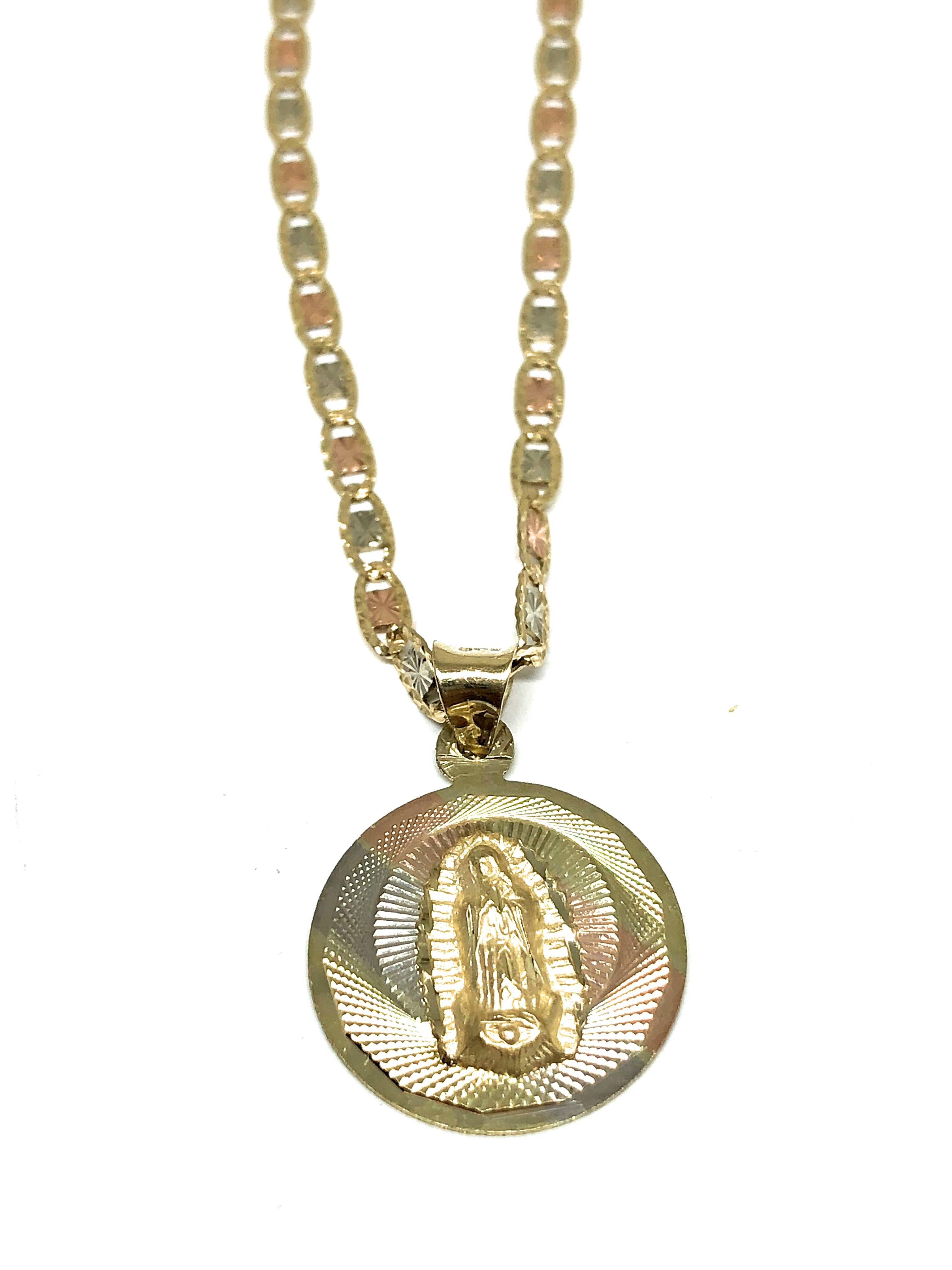 10k Solid Gold Tri-Color Virrgin Mary Pendant Necklace Virrgen Gaudalupe Valentina Chain (SM,MED)