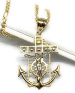 10k Solid Gold Yellow 2-Tone Anchor Jesus Crucifix Ancla Cristo Pendant Necklace
