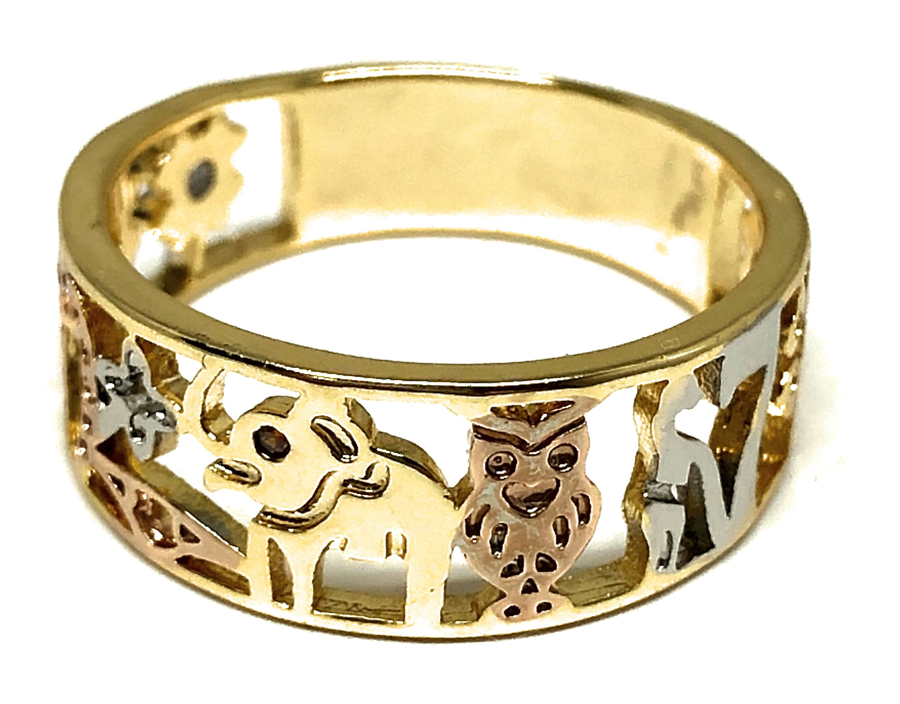 Gold Plated Women's Lucky Charm Symbols Ring Anillo de Suerte
