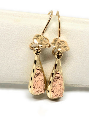 14k Solid Gold Rose & Gold Color Virrgin Mary Flower Tear Drop Earrings
