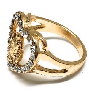 Gold Plated Virgin Mary Heart White Stone  Ring Virgen De Guadalupe Anillo Corazón