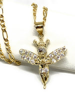 10k Solid Gold Yellow Crown Angel Cubic Zirconia Pendant Necklace