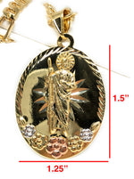 San Judas Tadeo Flores Medalla Gold Plated Saint Jude Pendant Flower Necklace 26""