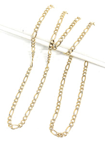 10k Solid Gold Figaro Chain 18-24 inches 2.5mm (Semi-Hollow Style)