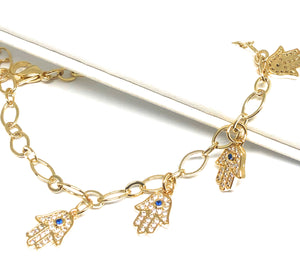Gold Plated Hamsa Hands Protection Bracelet 8-10""