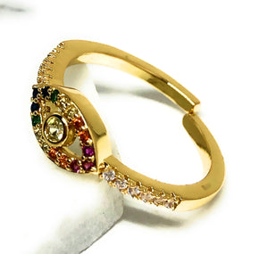 Gold Plated Colorful multi-color Stone Evil Eye Adjustable Ring Anillo