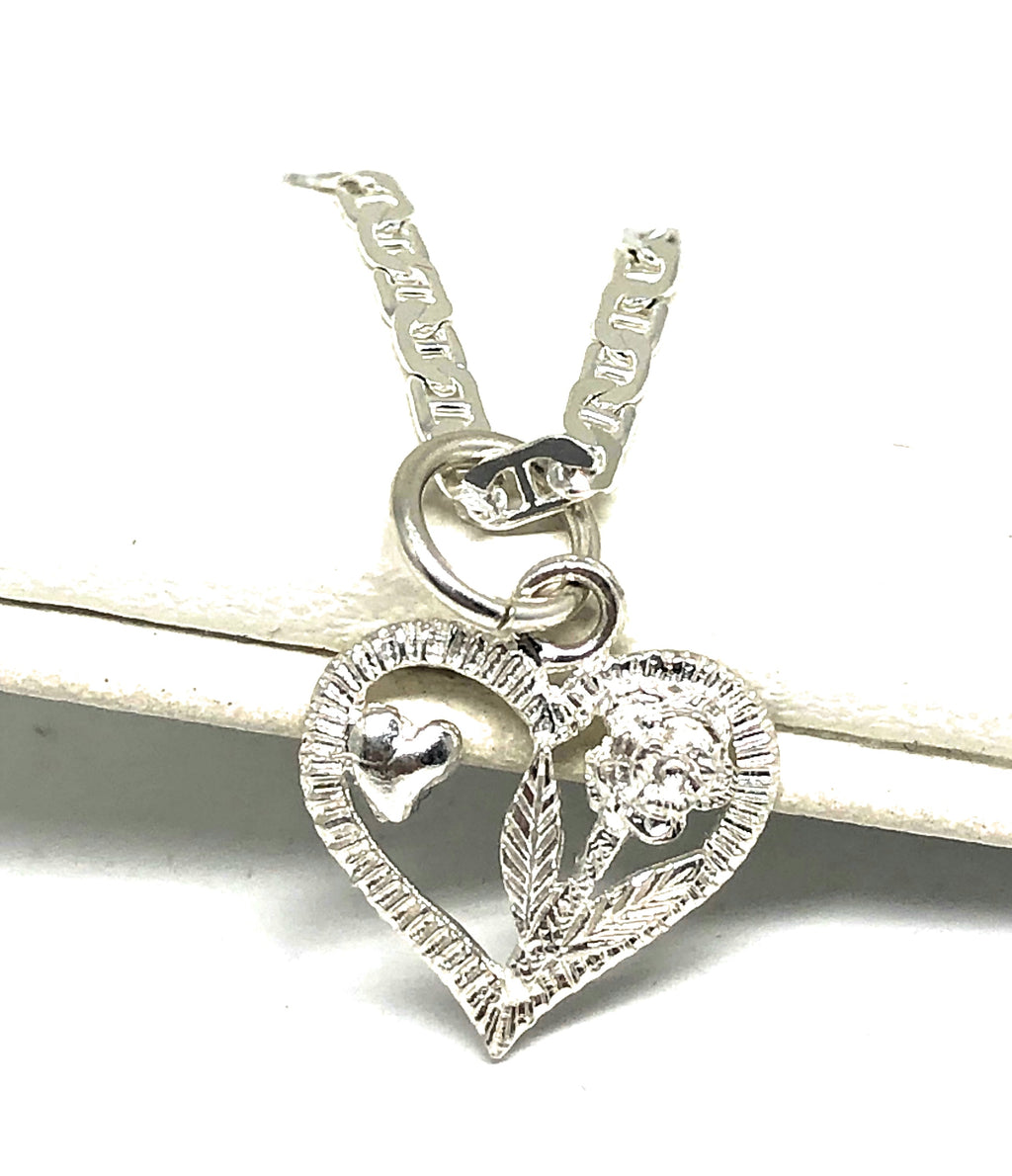 .925 Silver Heart & Rose Pendant Necklace with Chain Options
