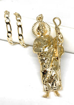 "Gold Plated Big Saint Jude Pendant Necklace Figaro 26"" San Judas Tadeo Medalla XL Cadena Oro"
