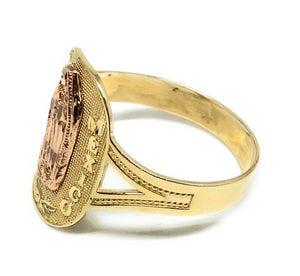 "14k Solid Gold Yellow & Rose Gold Virrgin Mary ""Reyna de Mexico"" Ring"