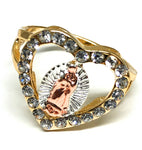 Tri-Color Gold Plated Virgin Mary Heart Ring Virgen De Guadalupe Anillo Tres Colores Corazon