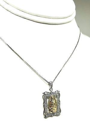"Gold Plated White Gold Virgin Mary Pendant Necklace CZ 20"" Virgen de Guadalupe"