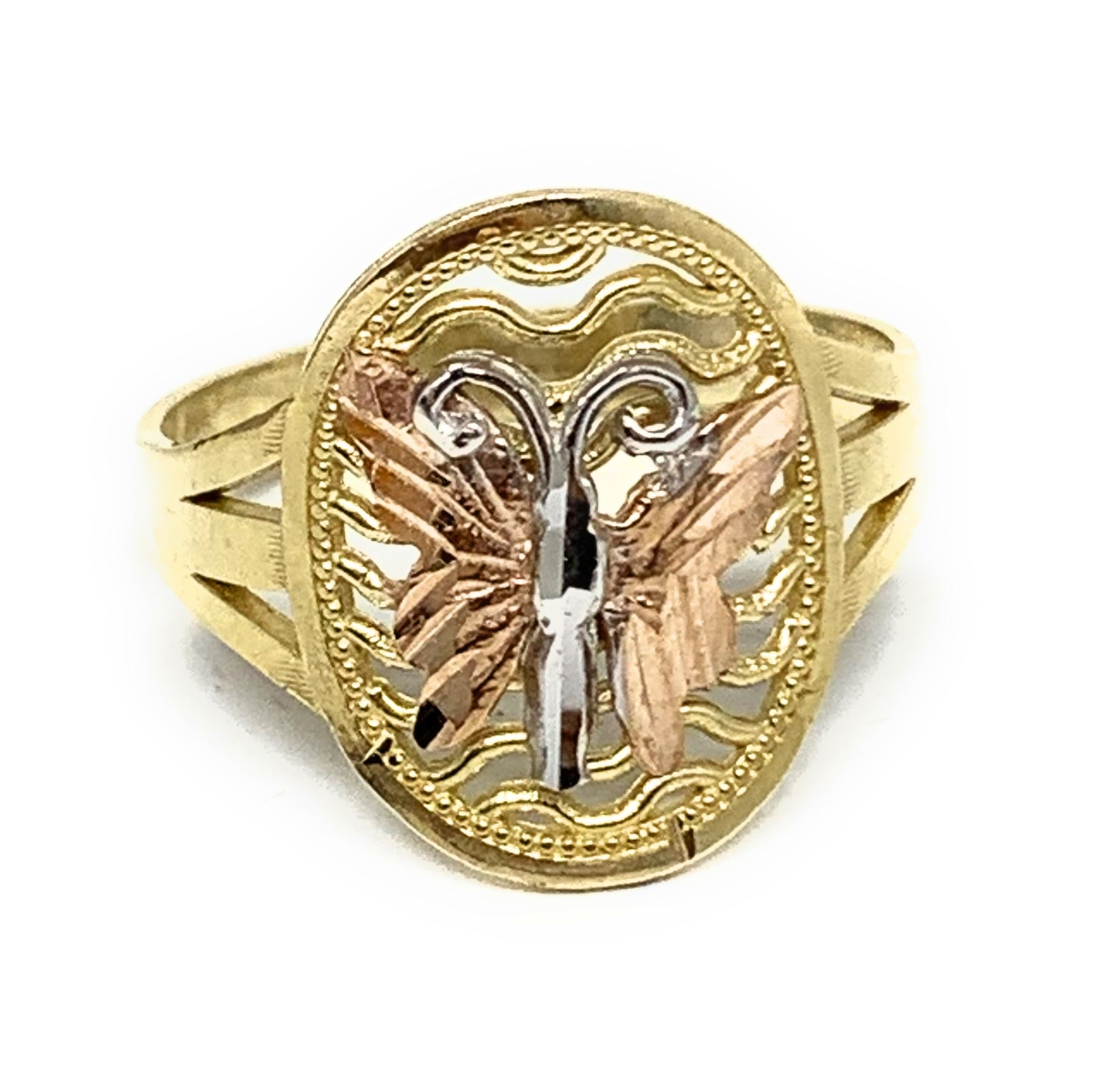 10k Solid Gold Tri-Color Butterfly Ring
