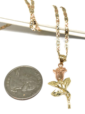 10k Solid Gold Yellow & Rose Pendant Necklace Tri-Color Valentina Chain