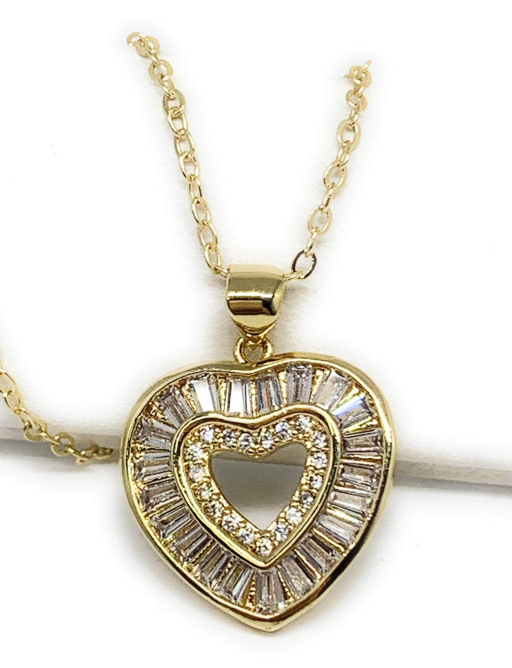 Gold Plated Layered Heart Cubic Zirconia Pendant Necklace Chain 20""