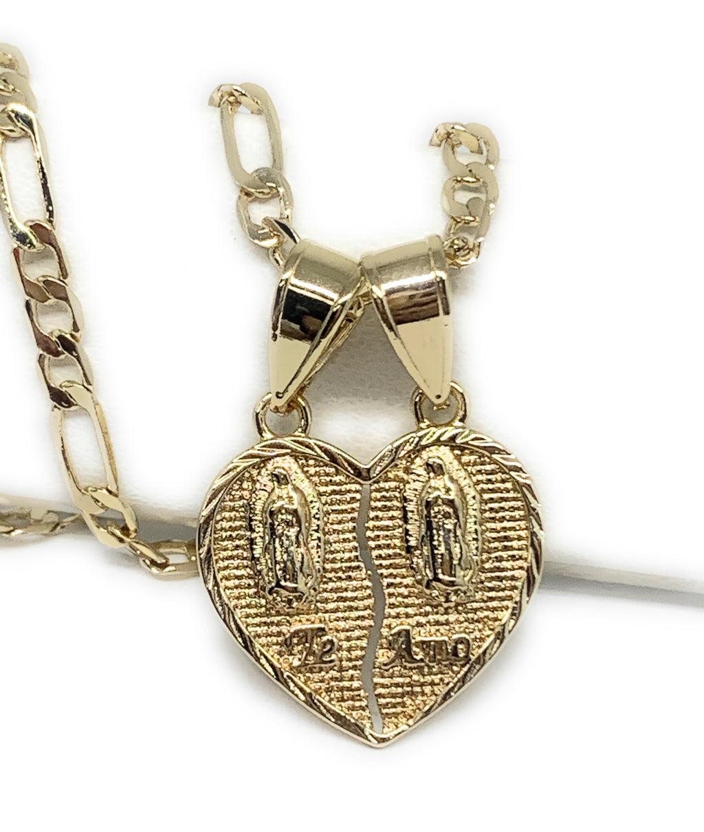 "Gold Plated Yellow Double Virgin Mary ""Te Amo"" Heart Split Pendant Necklace 24"" Virgen de Guadalupe"
