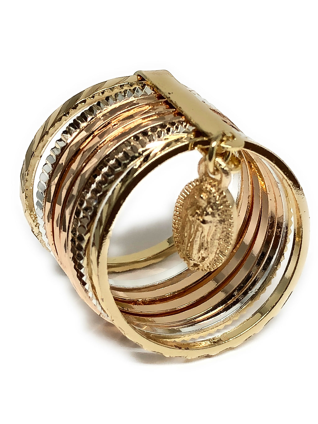 Tri-Color Gold Plated Semanario Virgin Mary Ring Virgen De Guadalupe Anillo Semanario Tres Colores - Fran & Co. Jewelry