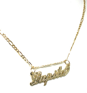 14k Solid Gold Yellow Cursive CZ Stones Custom Nameplate Pendant Necklace with Chain Options