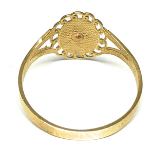 10k Solid Gold Yellow Tri-Color Virrgin Mary Ring