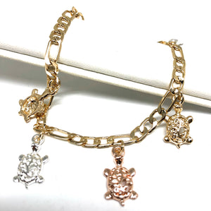 Gold Plated Tri-Color Turtle Charm Bracelet 8""