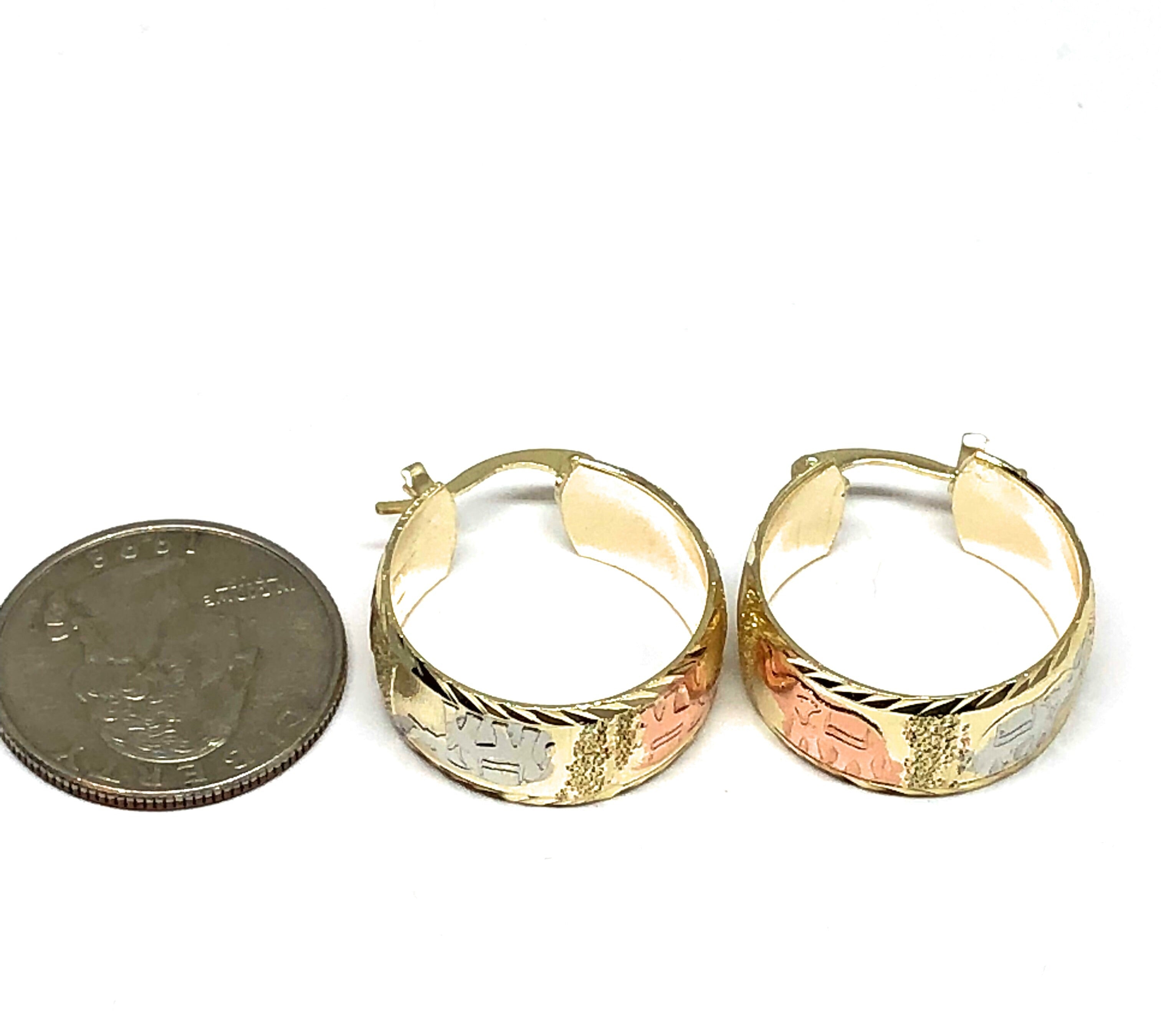 Gold Plated Tri-Color Elephant Hoop Earrings Aretes Arracada Tres Colores