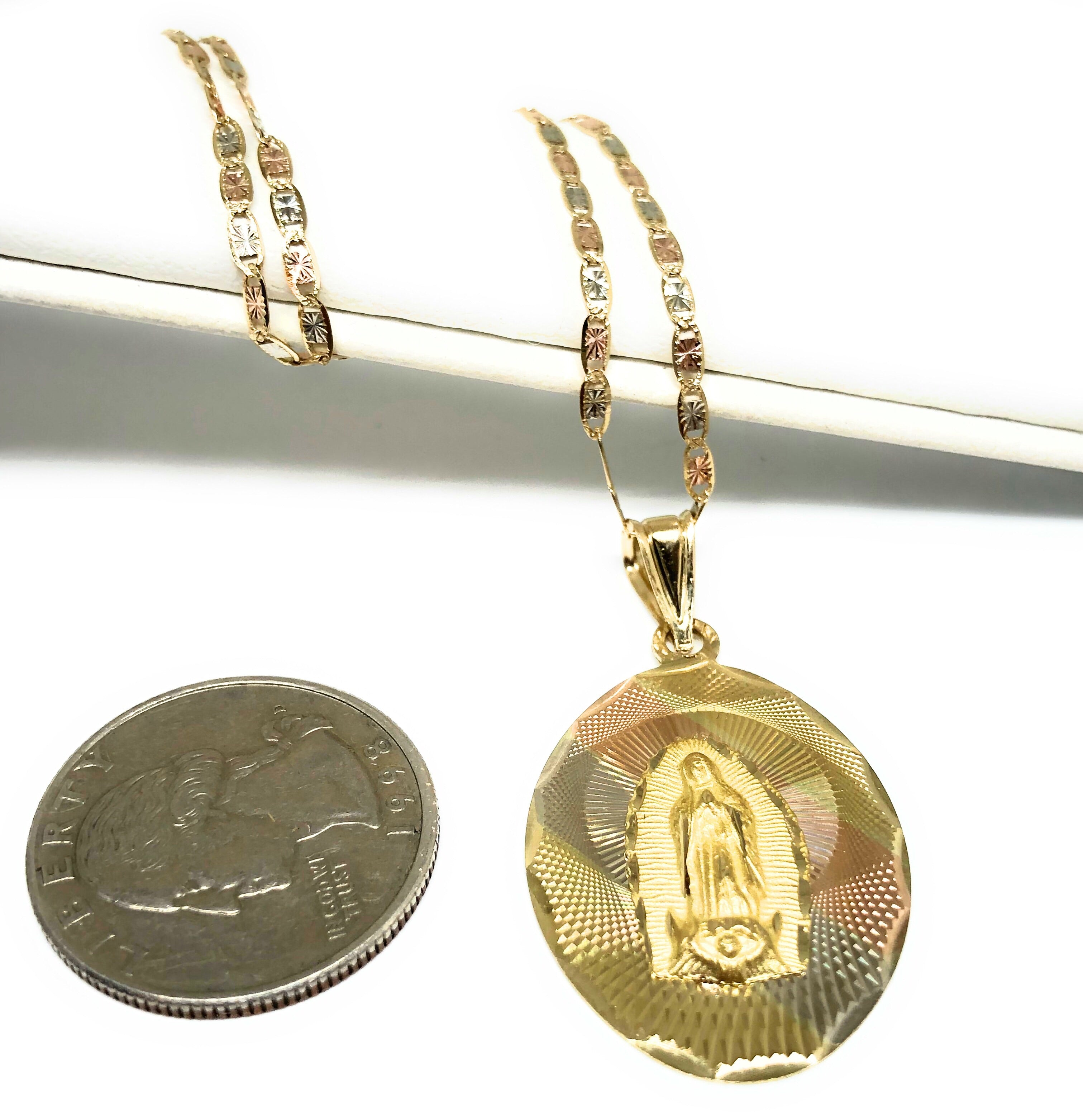 14k Solid Gold Tri-Color Virrgin Mary Pendant Virrgen Guadalupe Valentina Chain