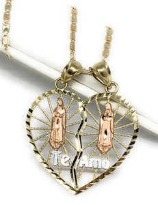 "10k Solid Gold Yellow & Rose Gold Double Virrgin Mary ""Te Amo"" Heart Split Pendant"