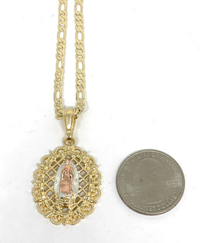 "Gold Plated Tri-Color Virgin Mary Oval Elegant Pendant Necklace 24"" Virgen Guadalupe"