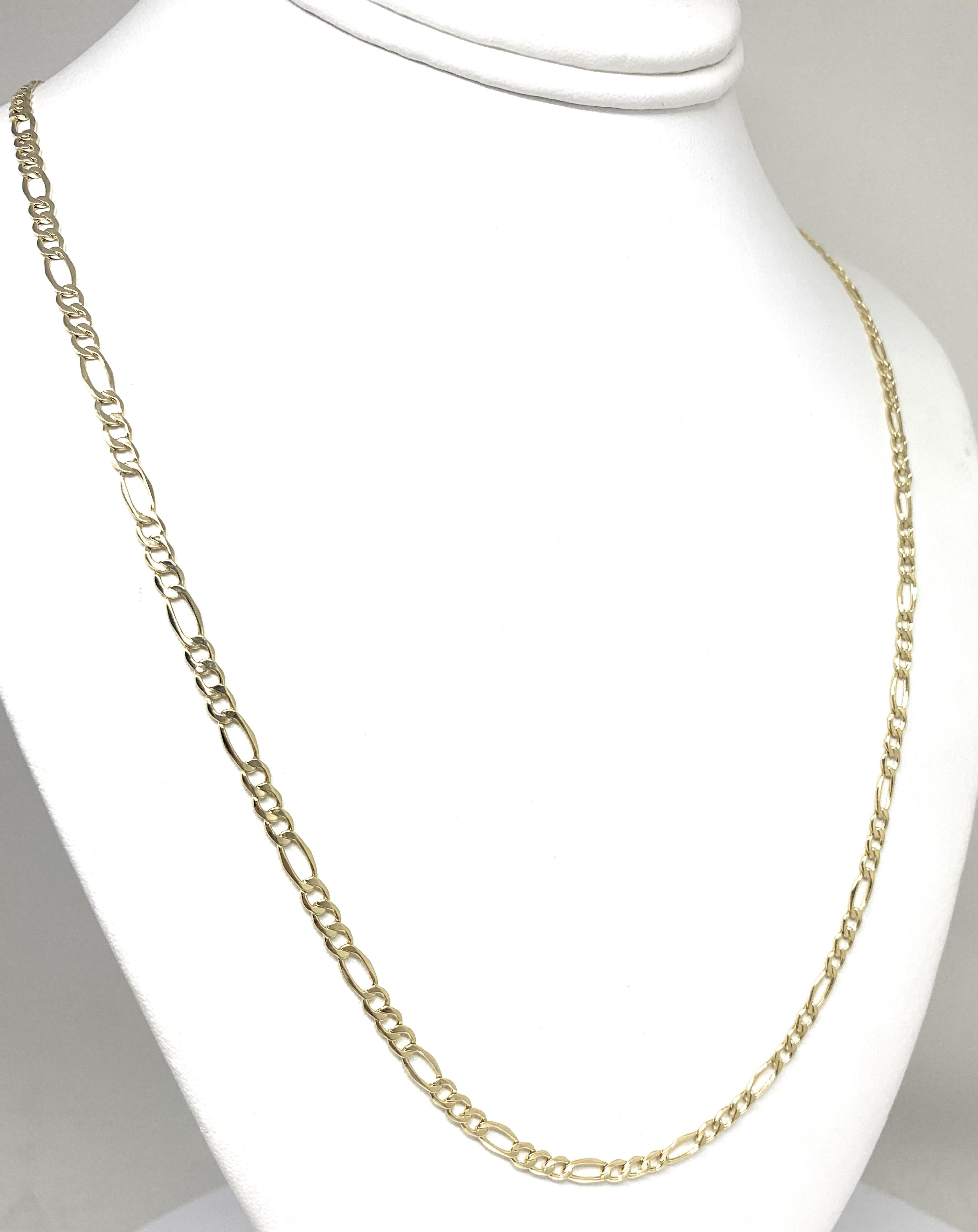 10k Solid Gold Figaro Chain 18-26 inches 3.5mm (Semi-Hollow Style)
