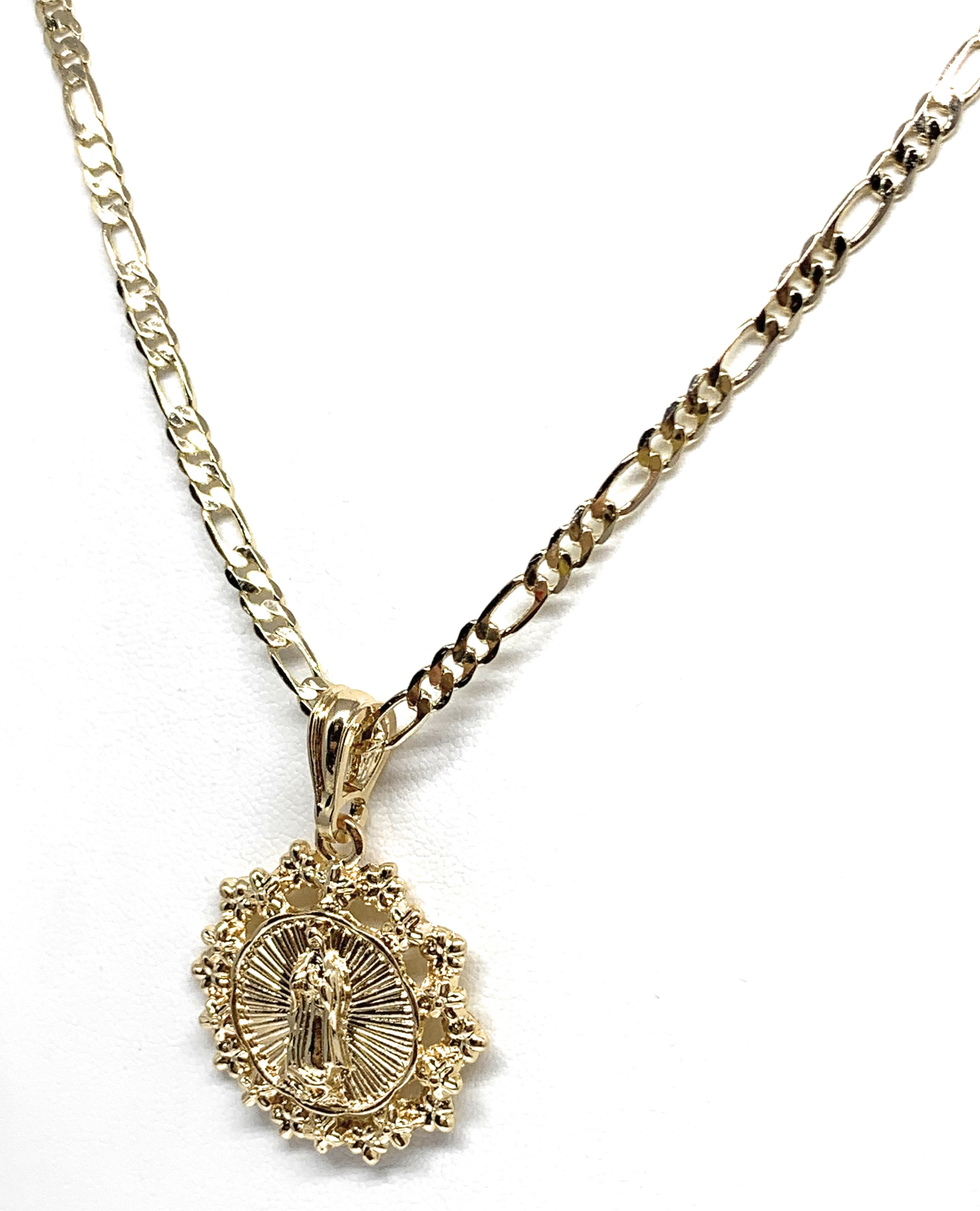 "Gold Plated Yellow Virgin Mary Round Flower Pendant Necklace 24"" Virgen de Guadalupe"