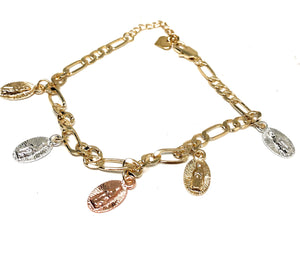 Gold Plated Tri-Color Virgin Mary Bracelet Virgen De Guadalupe Pulsera Tres Colores 8""