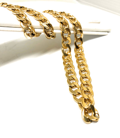"Gold Plated 30"" 7mm Cuban Link Chain - Fran & Co. Jewelry"
