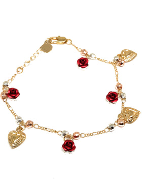Gold Plated Heart Rose Tri-Color Bracelet 9""