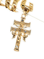 "Gold Plate Caravaca Cross Jesus Crucifix 26"" Chain / Caravaca Cruz Crucifijo Cadena Oro Lamindo 26"" - Fran & Co. Jewelry"