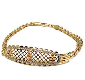 14k Solid Gold Tri-Color Virrgin Mary Brracelet Cubic Zirconia 7.2 inch Virrgen Guadalupe