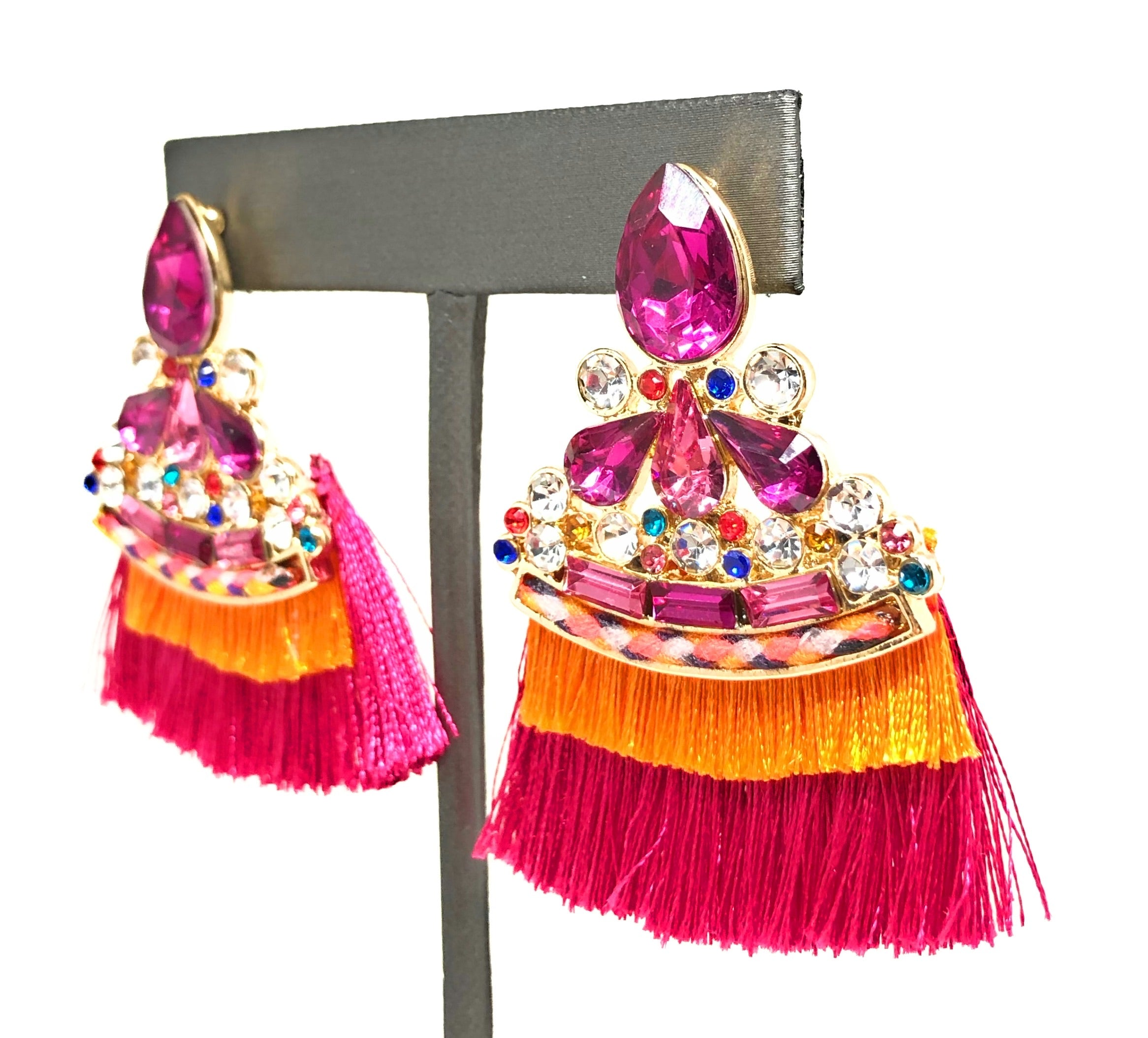 Gold Plated Colorful Wildflower Chandelier Earrings Aretes Folklorico