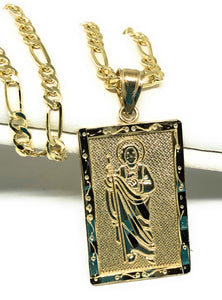14k Solid Gold Yellow Classic Saan Judas Saaint Jude Square Pendant with Figaro Chain Optional