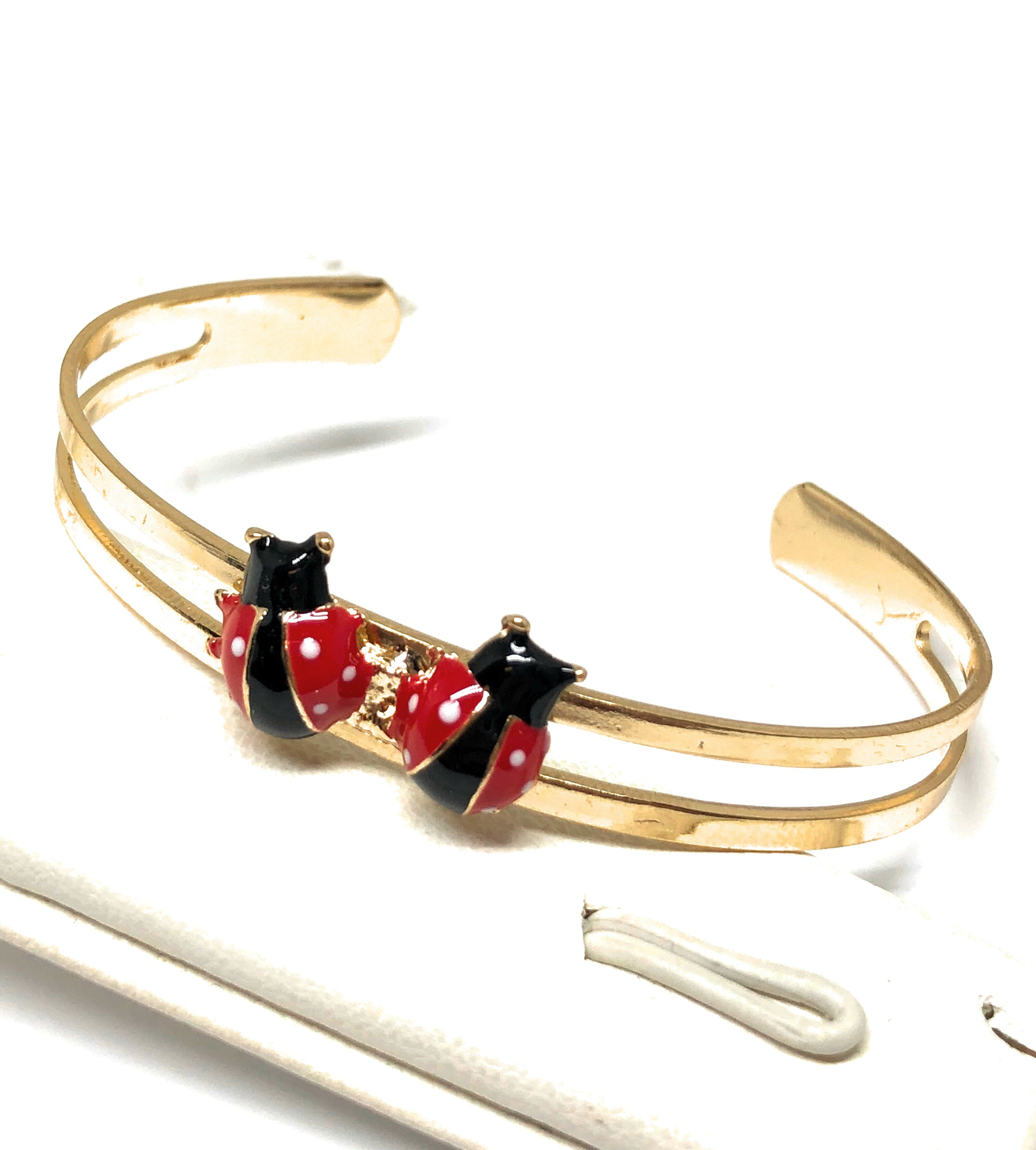 Kids's Ages 3-8 Gold Plated Ladybug Set | Earrings, Ring, Bracelet, Necklace