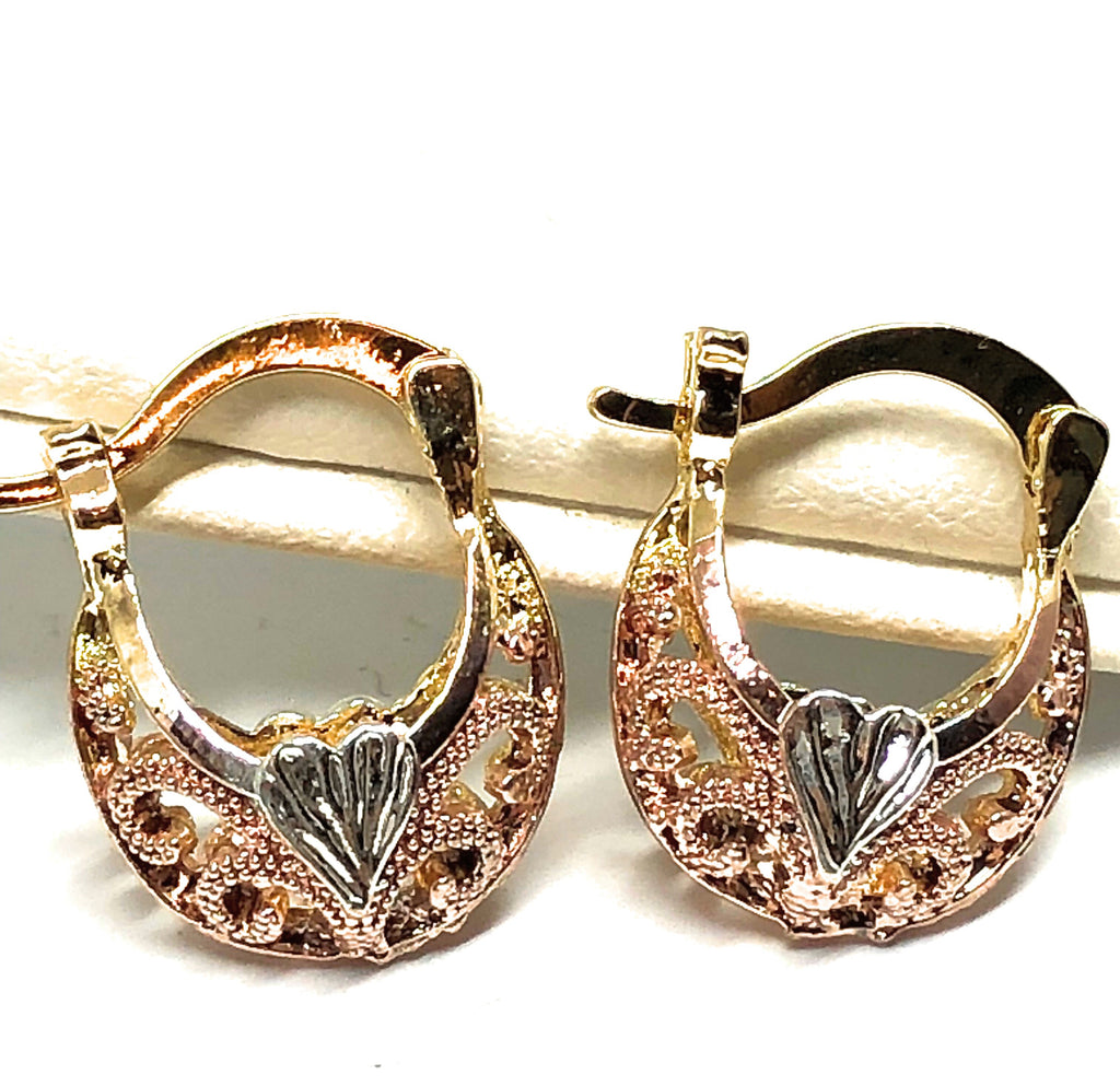Gold Plated Tri-Color Kids Basket Earrings Aretes Canasta Tres Colores Para Ninos