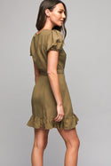 Maiya Mini Wrap Dress - Khaki