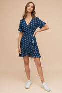 Seiren Mini Wrap Dress - Indigo