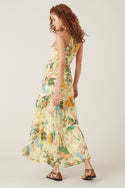 Kalani Silk Maxi Dress - Lemon