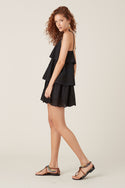 Elati Tiered Mini Dress - Black