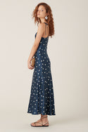 Akami Silk Midi Dress - Navy