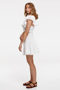 Isla Valdis Shirred Mini Skirt - Antique White