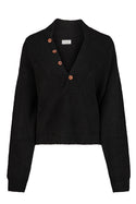Adhira Aurielle Button Sweater - Black