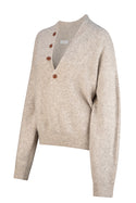 Adhira Aurielle Button Sweater - Oatmeal