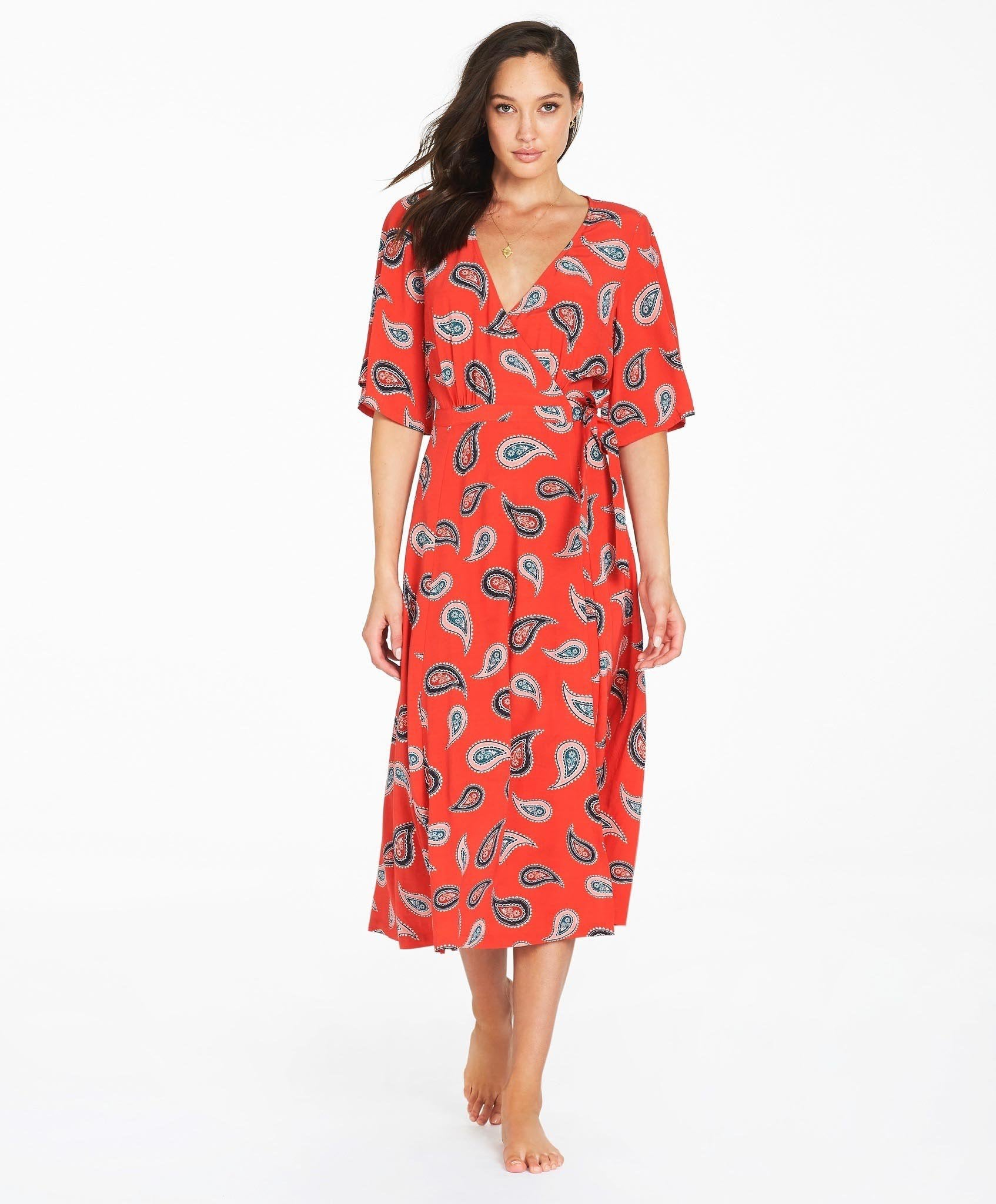 Tigerlily Allegra Midi Dress - Red